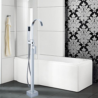 Contemporary Floor Mounted Floor Standing Ceramic Valve Single Handle One Hole Chrome, Bathtub Faucet