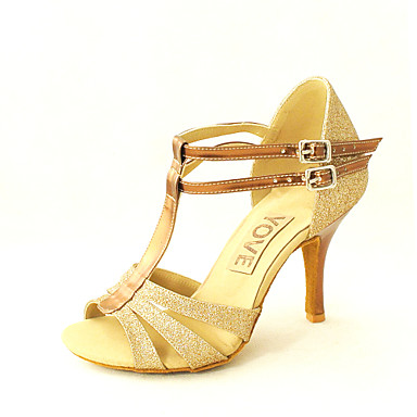 Women's Latin Shoes / Salsa Shoes Leatherette Sandal Buckle Customized Heel Customizable Dance Shoes Silver / Blue / Gold / Indoor