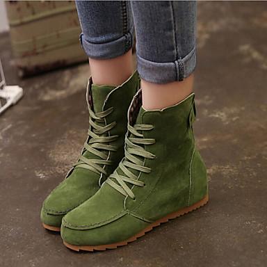 Femme Chaussures Faux Daim Printemps Automne Hiver Confort Hauteur de semelle compensée 5,08 à 10,16 cm Bottine / Demi Botte Lacet pour