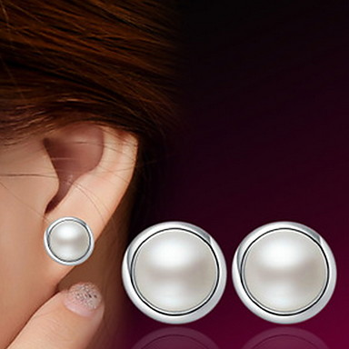 Stud Earrings Cute Party Work Casual Cute Style Pearl Sterling Silver Silver Jewelry White Costume Jewelry