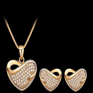 Syntetisk Diamant Smykkesett - Kubisk Zirkonium, Strass Hjerte, Kjærlighed Fest, Kontor, Europeisk Inkludere Gull Til / Øreringer / Halskjeder