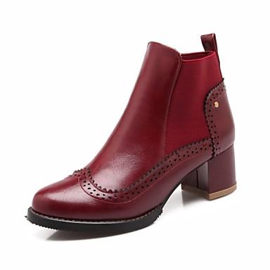 Жен. Обувь Дерматин Весна Осень Зима Армейские ботинки На толстом каблуке Около 5 - 10 см Ботинки На эластичной ленте для Повседневные на