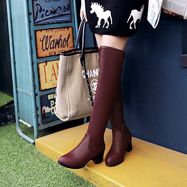 Γυναικείο Παπούτσια Φο Σουέτ Χειμώνας Χαμηλό Τακούνι Μπότες πάνω από το Γόνατο Με Για Causal Φόρεμα Πάρτι & Βραδινή Έξοδος Λευκό Μαύρο