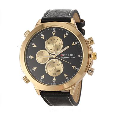 JUBAOLI Мужской Армейские часы Наручные часы Кварцевый Кожа Группа Черный