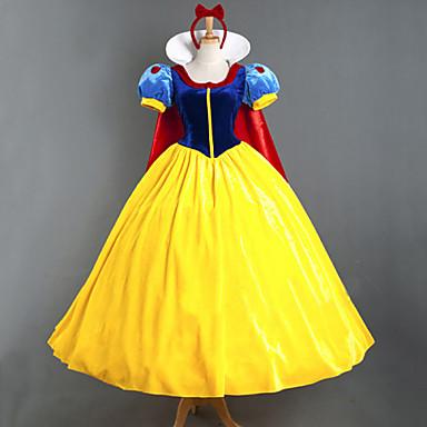 Princess Fairytale Cosplay Costume Movie Cosplay Yellow Dress Headpiece Cloak More Accessories Halloween New Year Velvet Satin