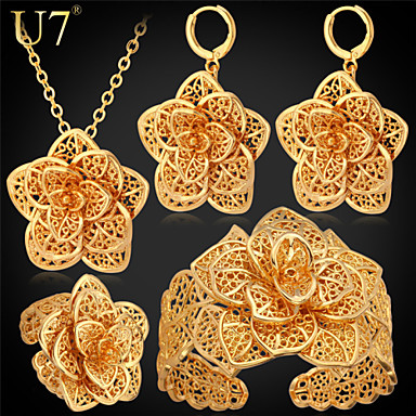 Women's Jewelry Set Pendant Necklaces Luxury Party Gift Gold Platinum Plated 18K gold Flower 1 Necklace 1 Pair of Earrings 1 Bracelet 1