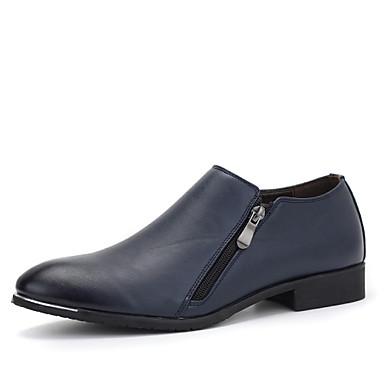 Masculino sapatos Couro Primavera Outono Conforto Mocassins e Slip-Ons Caminhada Ziper Para Casual Festas & Noite Preto Azul Escuro Vinho