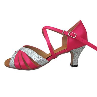 Λατινικοί - Παπούτσια Χορού - με Προσαρμοσμένο τακούνι - από Σατέν/Αστραφτερό Γκλίτερ - για Γυναικεία