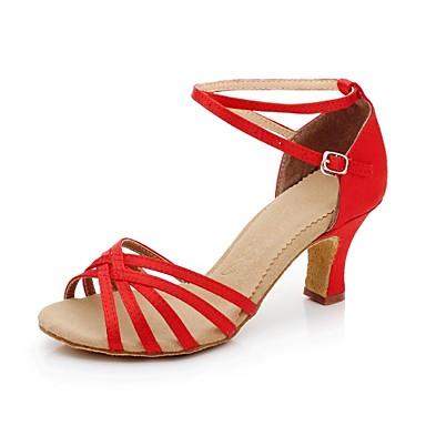 Pentru femei Latin Sală Dans Satin Sandale Cataramă Toc Cubanez Culoarea pielii Negru Roșu Auriu Albastru regal 2