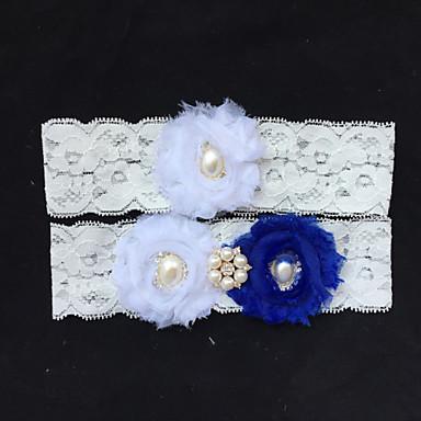 Garter Lace Flower/Imitation Pearl/Rhinestone Ivory Wedding Accessories