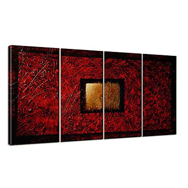 Ręcznie malowane Streszczenie Kaprys Poziomy panoramiczny, Nowoczesny Brezentowy Hang-Malowane obraz olejny Dekoracja domowa Cztery panele