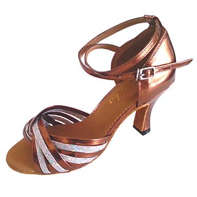 Damen Schuhe für den lateinamerikanischen Tanz Kunstleder Absätze Maßgefertigter Absatz Maßfertigung Tanzschuhe Bronze / Grau
