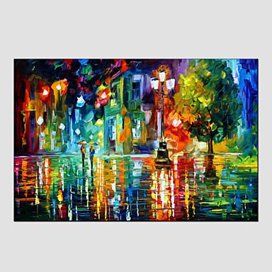 Hang festett olajfestmény Kézzel festett - Landscape Európai stílus Modern Vászon