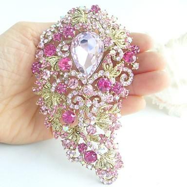 πανέμορφο 4,72 ιντσών χρυσό-Ήχος ροζ στρας κρύσταλλο διακόσμηση λουλούδι καρφίτσα κόσμημα τέχνης
