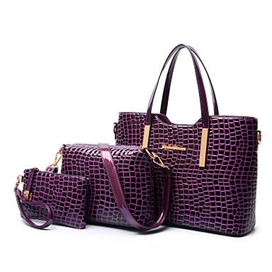 Mulheres Bolsas Couro Envernizado / PU Tote / Bolsa de Ombro / Conjuntos de saco 3 Pcs Purse Set Preto / Roxo / Vermelho