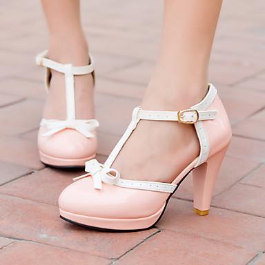 ราคาถูก รองเท้าส้นสูงผู้หญิง-สำหรับผู้หญิง หนังเทียม ฤดูใบไม้ผลิ / ฤดูร้อน ส้นกรวย / Platform ปมผ้า สีดำ / แดง / สีชมพู / แต่งตัว