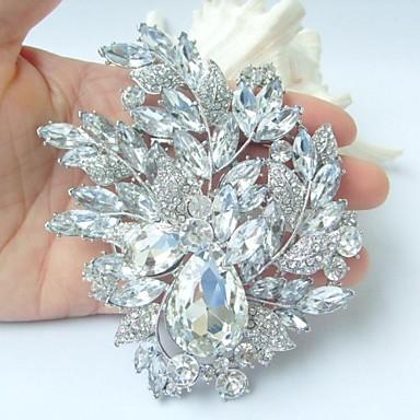 πανέμορφο 4.33 ιντσών ασήμι-Ήχος σαφές rhinestone κρύσταλλο καρφίτσα λουλούδι γαμήλια διακόσμηση νυφική ανθοδέσμη