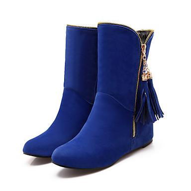 synthétique Cristal 05422724 Femme Hiver Talon Marron Gland de Rouge Bottes neige Plat rond Confort Bleu Automne Fermeture Laine Bout Bottes Printemps Chaussures ZwZrq1nEF