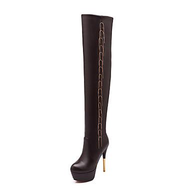 Mulheres Sapatos Couro Sintético Outono Inverno Salto Agulha 50,8 cm ou Mais Botas Acima do Joelho para Casual Escritório e Carreira