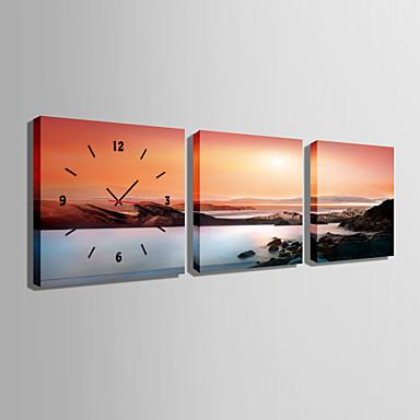 e-home® το ηλιοβασίλεμα ρολόι βουνό θάλασσα σε καμβά, ρολόι τοίχου τέχνης 3τμ
