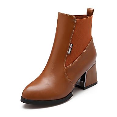Damen Schuhe Kunstleder Frühling Herbst Winter Modische Stiefel Stiefel Blockabsatz Elastisch Für Normal Kleid Schwarz Gelb Rot