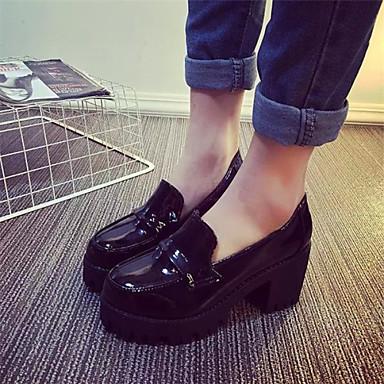 Жен. Обувь Дерматин Весна Осень На толстом каблуке Блочная пятка для Повседневные Черный Красный