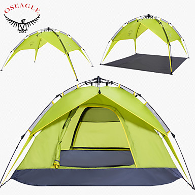 OSEAGLE 3-4 persons Tent Double Camping Tent One Room Automatic Tent Moistureproof/Moisture Permeability Well-ventilated Waterproof
