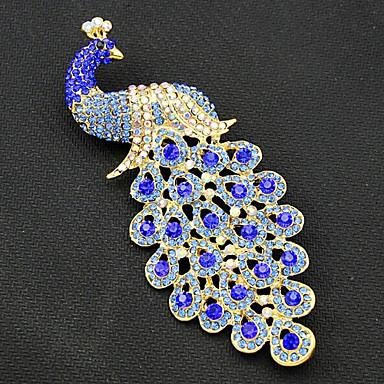 billige Nåle og brocher-Dame Brocher Påfugl Vintage Mode Guldbelagt Broche Smykker Marineblå Til Fest Speciel Lejlighed