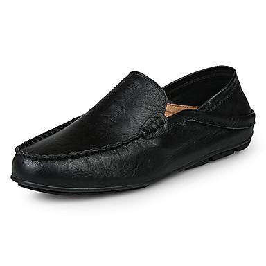 Hombre Zapatos Cuero de Napa / PU Otoño Mocasín Zapatos de taco bajo y Slip-On Negro / Marrón / Azul vDvg2
