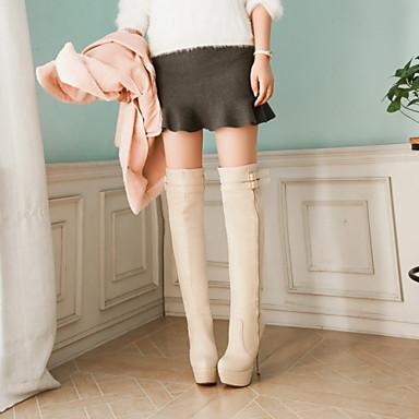 Automne Bottes la Polyuréthane Habillé Similicuir Chaussures Talon Mode Femme rond Hiver Bout Aiguille à 06421622 pour Bottes Cuissarde Boucle IETw0qEXx