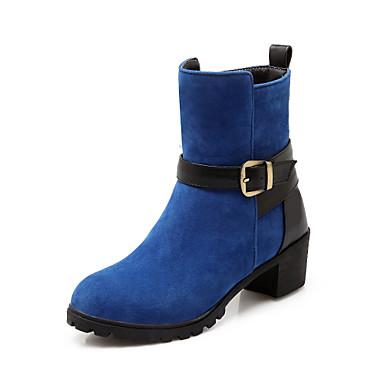 부츠 - 드레스 - 여성의 신발 - 둥근 앞코 / 패션 부츠 - 레더렛 - 청키 굽 - 블랙 / 블루 / 레드