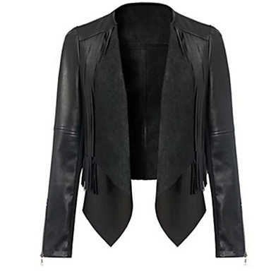 Women's Solid Black Vintage / Casual Cowl Long Sleeve
