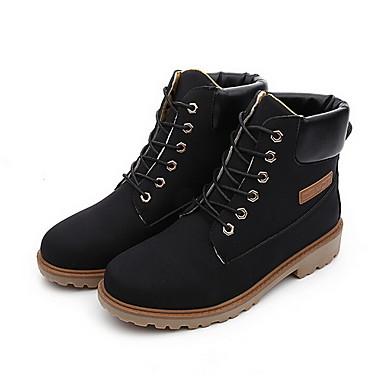 Γυναικεία παπούτσια - Μπότες - Καθημερινά - Επίπεδο Τακούνι - Στρογγυλή Μύτη / Μοντέρνες Μπότες - Δερματίνη -Μαύρο / Καφέ / Κίτρινο /