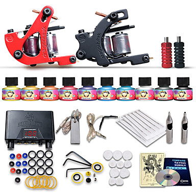 Tattoo Machine Starter Kit - 2 pcs Tattoo Machines with 10 x 5 ml tattoo inks, Professional LCD power supply Case Not Included 2 cast iron machine liner & shader