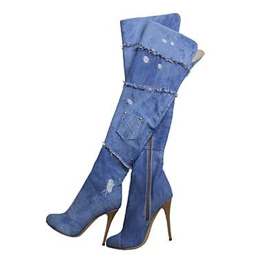 부츠 - 사무실 & 커리어 / 드레스 / 캐쥬얼 - 여성의 신발 - 패션 부츠 - 캔버스 - 스틸레토 굽 - 블루