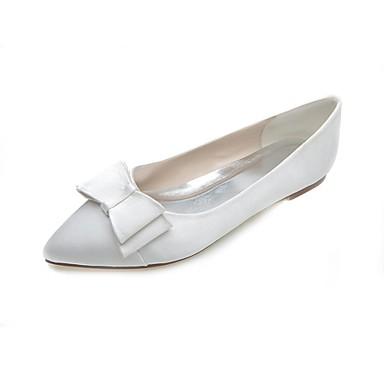 Damen Schuhe Satin Frühling Sommer Flacher Absatz Schleife für Hochzeit Party & Festivität Weiß Rosa Silber Blau Lila