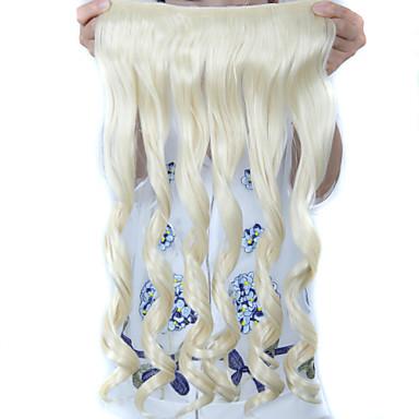 머리 연장 24 인치 긴 곱슬 5 클립에 강한 합성 가발을 가열