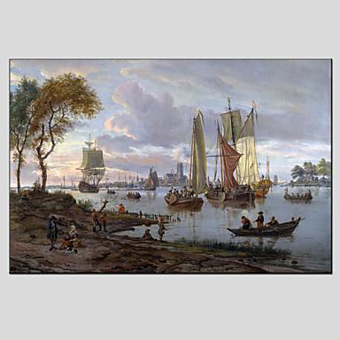 Ręcznie malowane Krajobraz Poziomy, Fason europejski Nowoczesny Brezentowy Hang-Malowane obraz olejny Dekoracja domowa Jeden panel