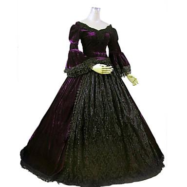 Платья/Платья Готика Steampunk® / Викторианский стиль Косплей Платья Лолиты Лиловый Однотонный Длинный рукав Длинный Платье Для Женский