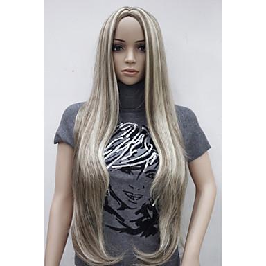 Syntetiske parykker Dame Rett Blond Syntetisk hår Hår med highlights / Midtskill Blond Parykk Veldig lang Lokkløs StrongBeauty