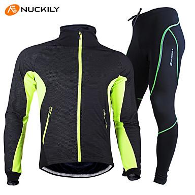 Nuckily Pantolonlu ile Bisiklet Ceketi Unisex Uzun Kollu Bisiklet Giysi Setleri Su Geçirmez Sıcak Tutma Hızlı Kuruma Rüzgar Geçirmez