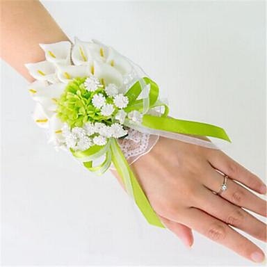 Λουλούδια Γάμου Δεμένο στο χέρι Κρίνοι Κορσάζ Καρπού Γάμος Πάρτι/ Βράδυ Σατέν Ελαστικό σατέν