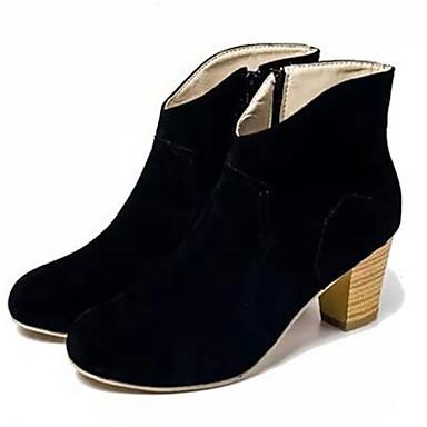 Γυναικεία παπούτσια - Μπότες - Καθημερινά - Χοντρό Τακούνι - Μυτερό - Δερματίνη - Μαύρο / Κίτρινο / Μπεζ