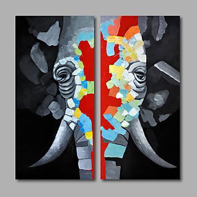 Peint à la main Pop Art Format Vertical, Moderne Toile Peinture à l'huile Hang-peint Décoration d'intérieur Deux Panneaux