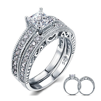 Women's Couple Rings Elegant Silver Sterling Silver Cubic Zirconia Feather Round Jewelry Wedding Party Daily Casual