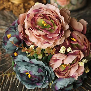 1 Une succursale Polyester Plastique Pivoines Fleur de Table Fleurs artificielles