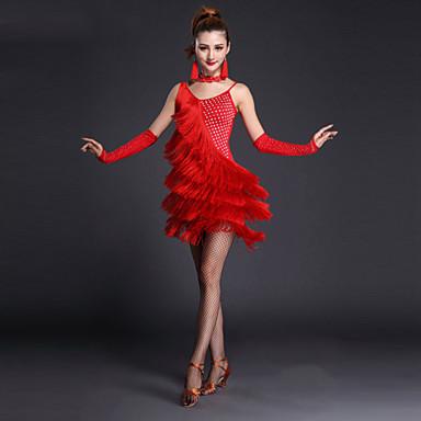 Latein-Tanz Kleider Damen Leistung Polyester Lycra Kristalle / Strass Quaste Kurze Ärmel Ärmellos Hoch Kleid Handschuhe Neckwear