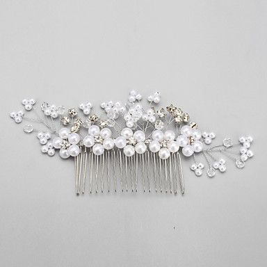 Crystal Imitation Pearl Rhinestone Alloy Hair Combs 1 Wedding Special Occasion Headpiece