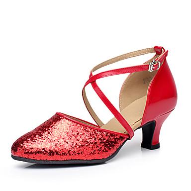 Mulheres Sapatos de Dança Moderna Paetês Salto Gliter com Brilho Salto Personalizado Personalizável Sapatos de Dança Preto / Prata / Vermelho