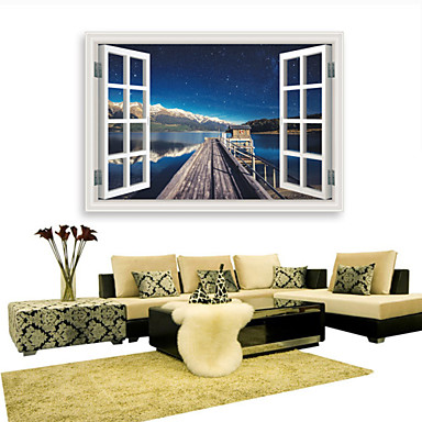 3D Wall Stickers Wall Decals Style Harbour Pier Sky Waterproof Removable PVC Wall Stickers